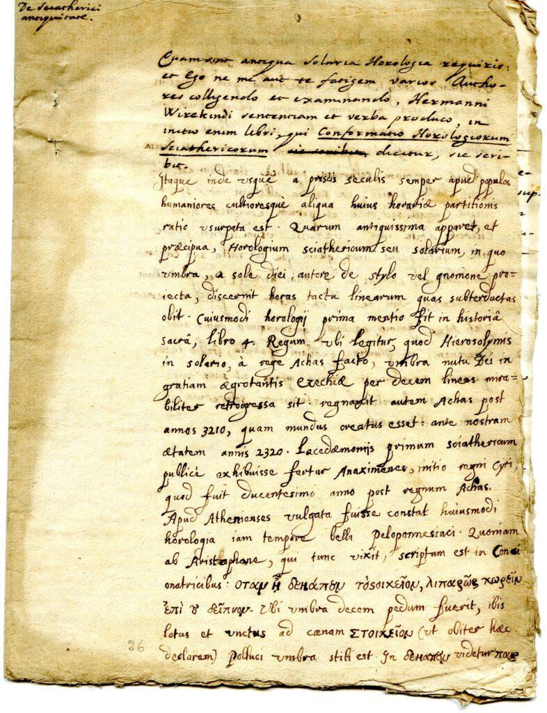 Trattazione manoscritta sull'antichità degli orologi solari.