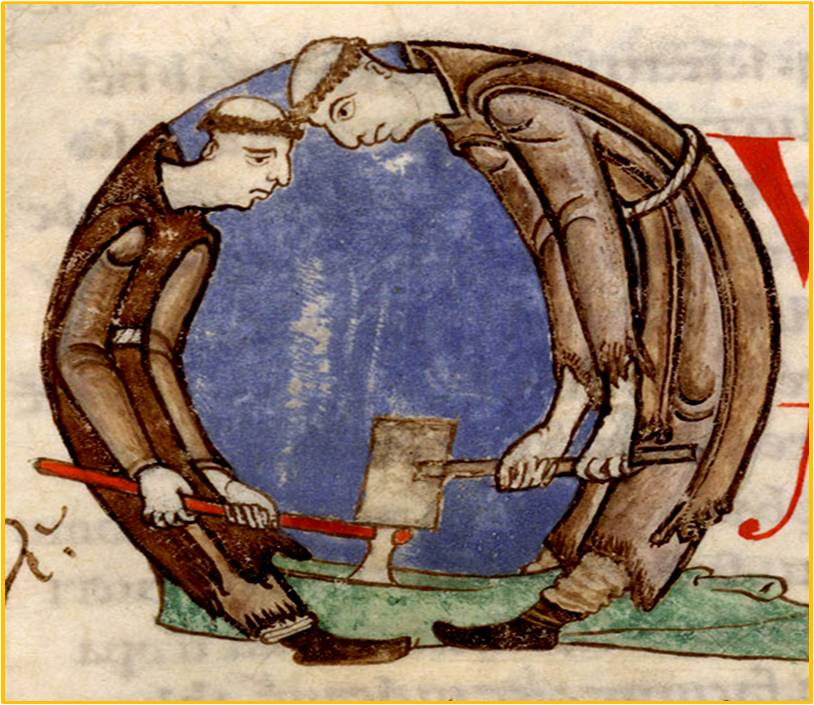 Il lavoro dei monaci -Capolettera miniato XI sec - Man. n° 170 Scriptorium di Citeux