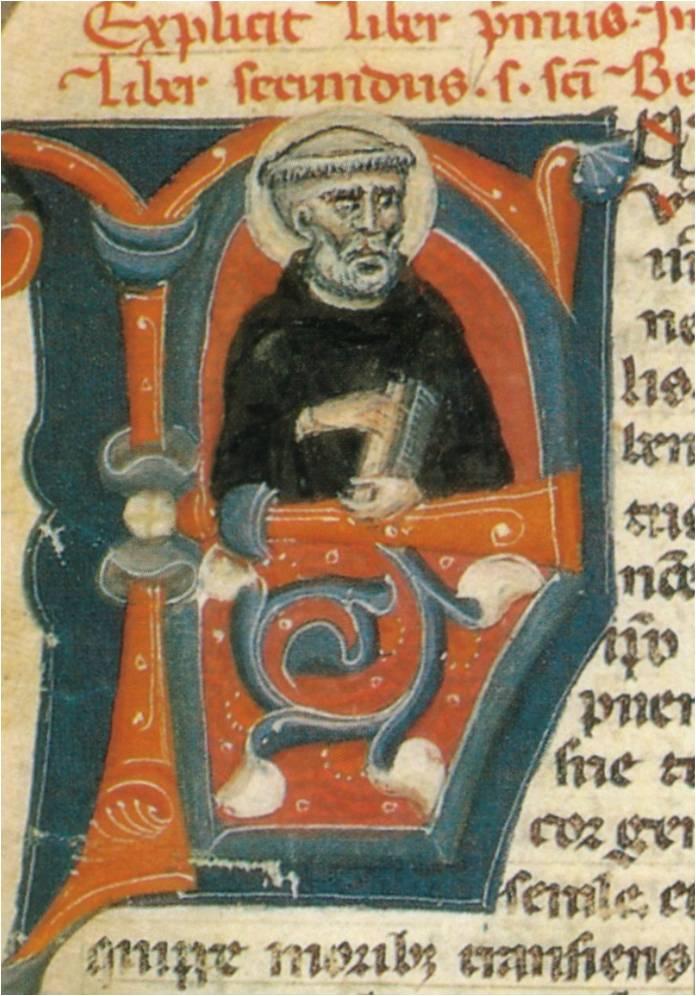"""San Benedetto in una miniatura dei """"Dialoghi"""" di Gregorio Magno"""