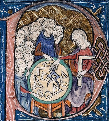 Studio della geometria - Miniatura dal Meliacin Master – British Library Burney 275, XIII sec.