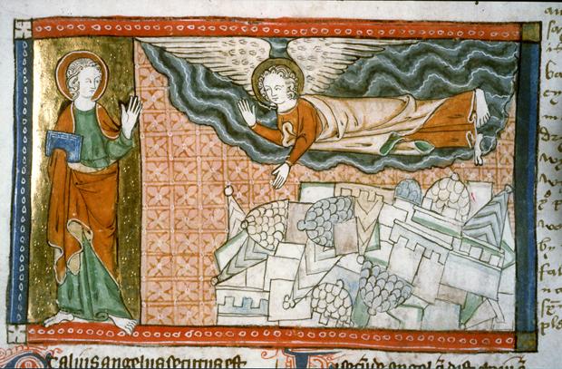 Il terremoto in una miniatura dall'Apocalisse di Giovanni -Autore ignoto sec. XIII