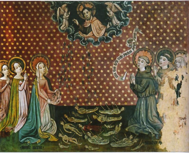 Cristo lancia le frecce della peste - Hannover Landesmuseum, XIV sec.